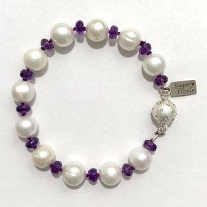 Freshwater Pearl & Amethyst Bracelet/Hand Knotted